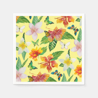 Tropical Flowers & Butterflies pattern Paper Napkin