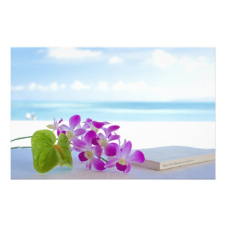 Tropical Flowers by the beach Stationery