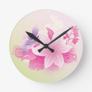 Tropical Flowers Round Wallclocks