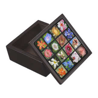 Tropical Flowers Collage -- small squares design Keepsake Box