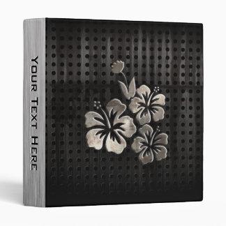 Tropical Flowers Cool Black Vinyl Binder