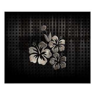 Tropical Flowers; Cool Black Poster
