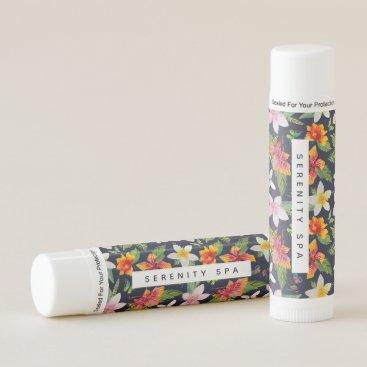 Professional Business Tropical Flowers Custom Text 12 pk. Lip Balm