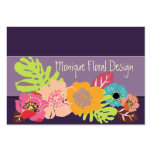 Tropical Flowers diy color, eggplant background Large Business Cards (Pack Of 100)