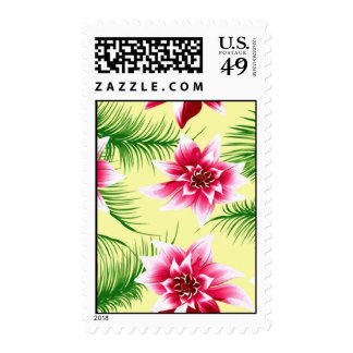Tropical Flowers & Ferns Postage Stamp