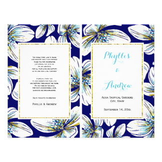 Tropical flowers folded wedding program