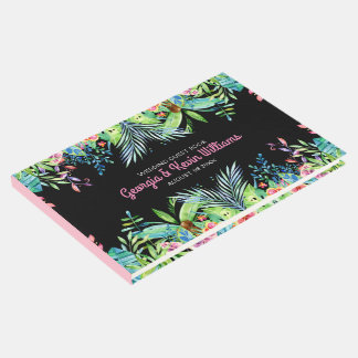 Tropical Flowers Frame Design Guest Book