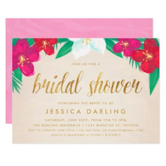 Tropical Flowers Gold Bridal Shower Invitation