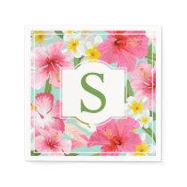 Tropical Flowers | Green Monogram Paper Napkin