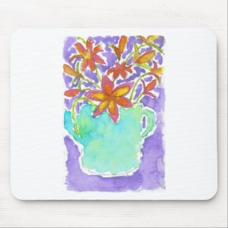 Tropical Flowers in Blue Pitcher Mouse Pad