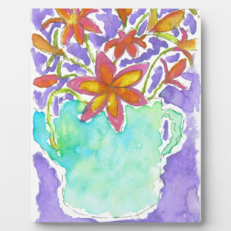 Tropical Flowers in Blue Pitcher Plaque