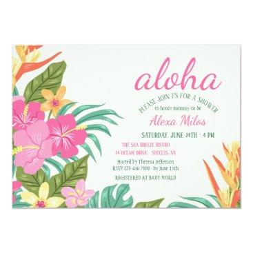 Hawaiian Themed Tropical Flowers Invitation