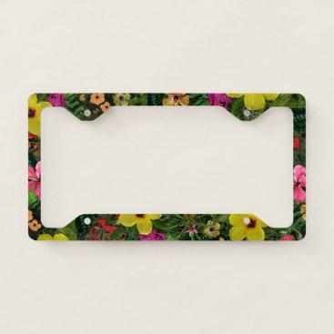 Hawaiian Themed Tropical Flowers License Plate Frame