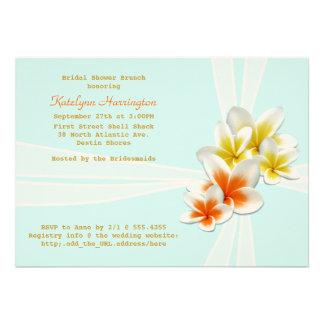 Tropical Flowers Light Blue Bridal Shower Invites