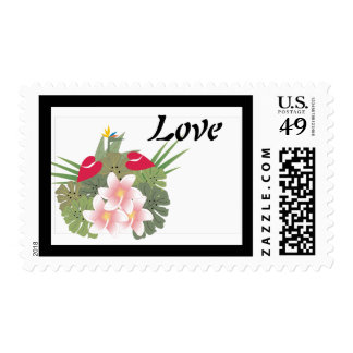 Tropical Flowers Love Postage