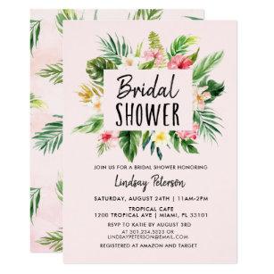 Luau bridal shower invitations zazzle tropical flowers luau bridal shower invitation filmwisefo