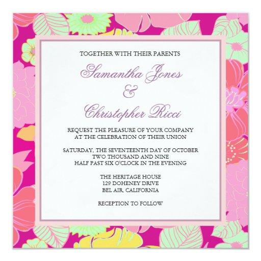 Tropical Flowers + Monogram, Invitations