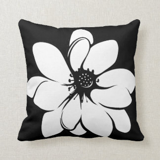 Tropical Flowers on Black and White Pillow