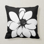 Tropical Flowers on Black and White Throw Pillow