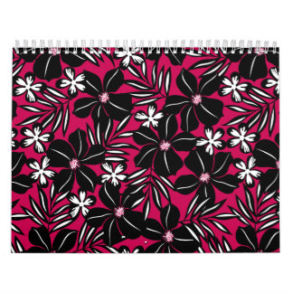 Tropical flowers on red calendar