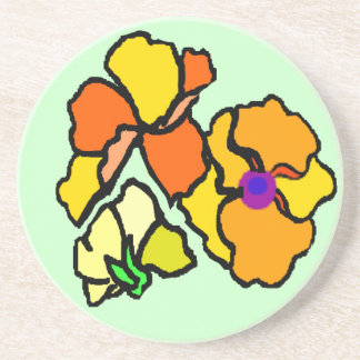 Tropical flowers over bright green coaster