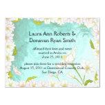 Tropical Flowers Pale Blue Swirls Post Wedding Custom Invites