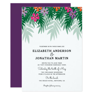 Tropical Flowers & Palm Branch Wedding Invitation