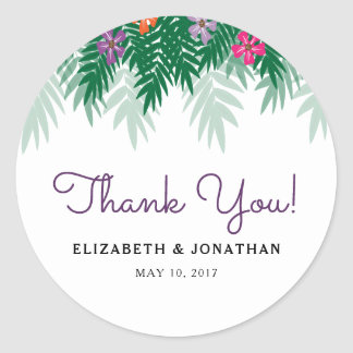 Tropical Flowers & Palm Branch Wedding Thank You Classic Round Sticker