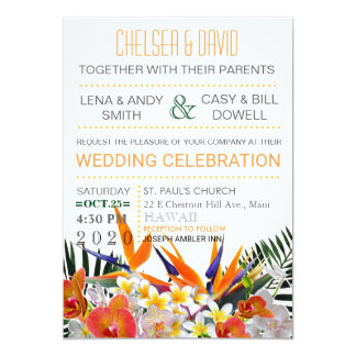 Tropical Flowers Palm Leaves Modern Chic Wedding Card