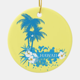 Tropical flowers, palms on a beach illustration ceramic ornament