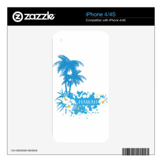 Tropical flowers, palms on a beach illustration decals for the iPhone 4S