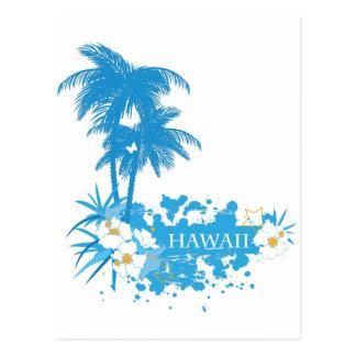 Tropical flowers, palms on a beach illustration postcard