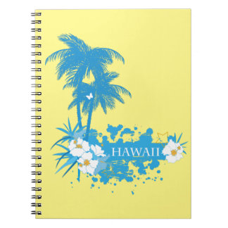 Tropical flowers, palms on a beach illustration spiral notebook