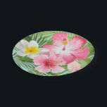 "Tropical Flowers Paper Plate<br><div class=""desc"">Wedding bridal shower plates feature green palm leaves and vibrant tropical hibiscus flowers. Colors include pink,  magenta,  yellow,  green,  seafoam,  and aqua blue.</div>"