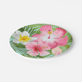 Tropical Flowers Paper Plate