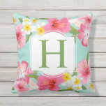"Tropical Flowers Pattern | Monogram Throw Pillow<br><div class=""desc"">Tropical style pillow design features a pattern of vibrant pink,  yellow,  and white hibiscus flowers with leaf green monogram letter and seafoam blue / green background color.</div>"