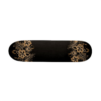 Tropical Flowers Pattern Orange & Black Skateboard