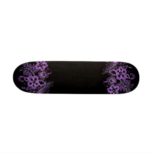 Tropical Flowers Pattern Purple & Black Skateboard Deck