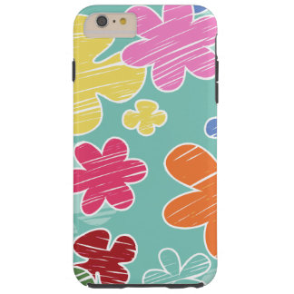 Tropical Flowers, Petals - Pink Green Blue Yellow Tough iPhone 6 Plus Case