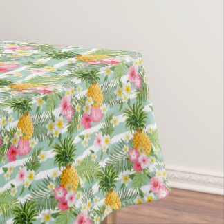 Tropical Flowers U0026amp; Pineapple On Teal Stripes 2 Tablecloth