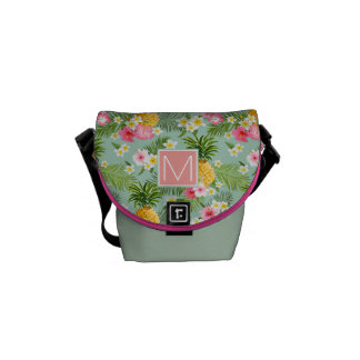 Tropical Flowers & Pineapples   Add Your Initial Courier Bag