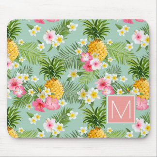Tropical Flowers & Pineapples | Add Your Initial Mouse Pad
