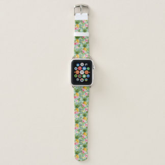 Tropical Flowers & Pineapples Apple Watch Band