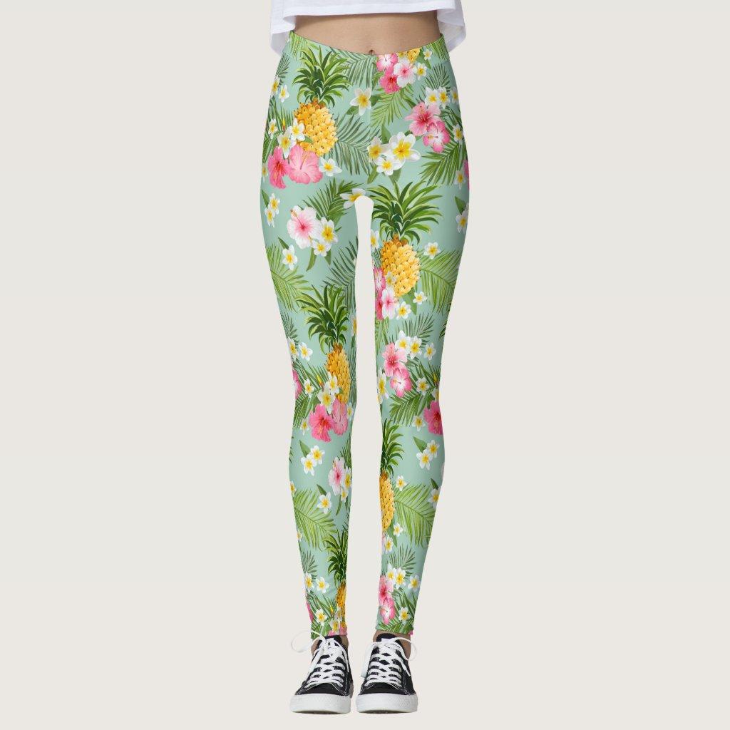 Tropical Flowers & Pineapples Leggings