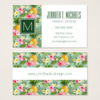 Tropical Flowers & Pineapples | Monogram Business Card