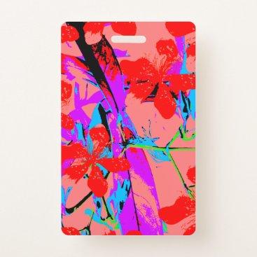 Hawaiian Themed Tropical Flowers Pink Badge