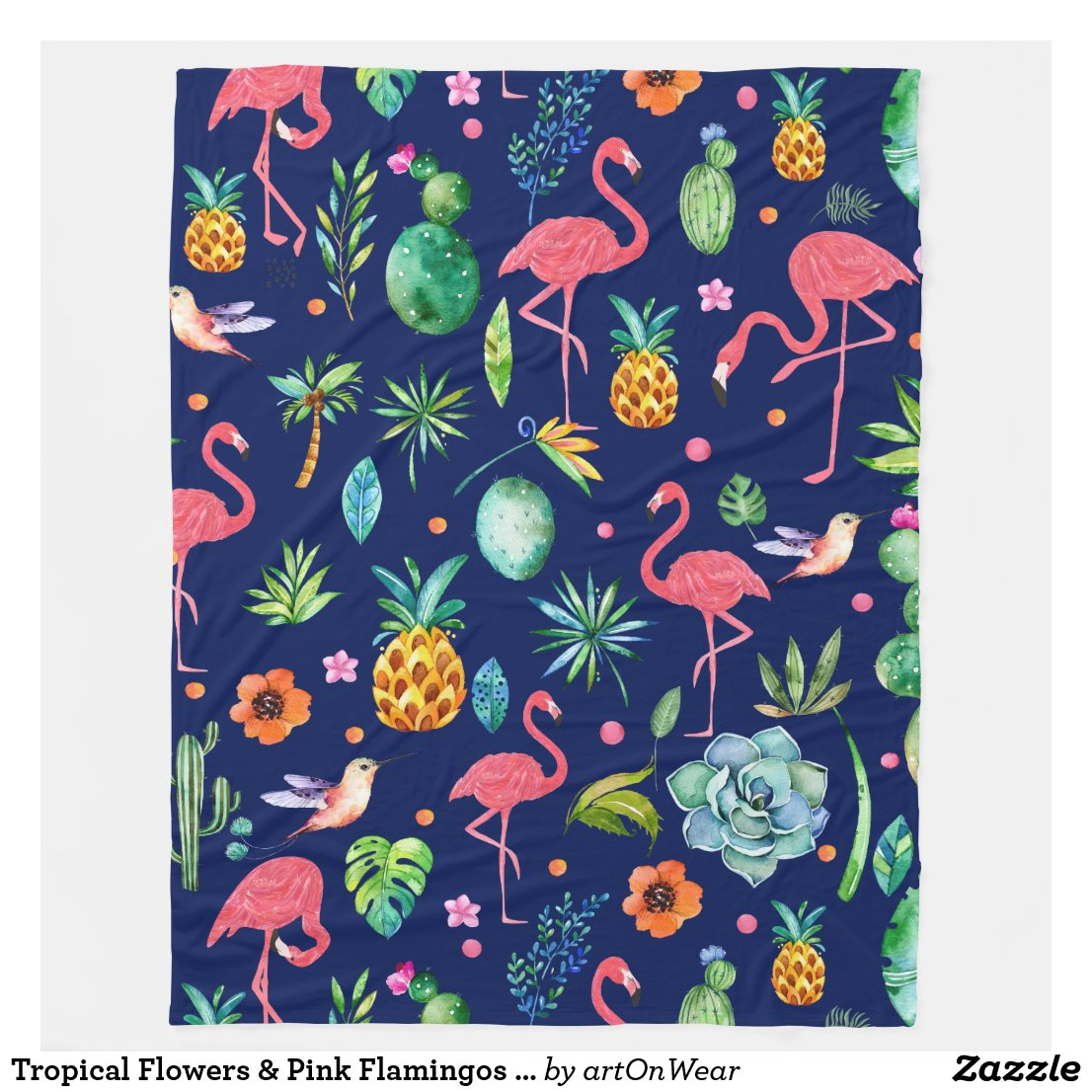 Tropical Flowers & Pink Flamingos Illustration