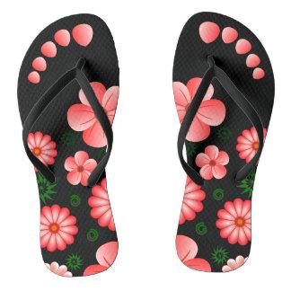 Tropical Flowers Pink Floral Toe Marks Flip Flops