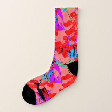 Hawaiian Themed Tropical Flowers Pink Socks