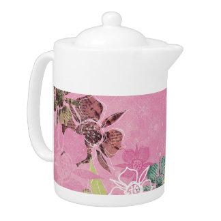 Tropical Flowers Pink Teapot Kitchen Tea Pot